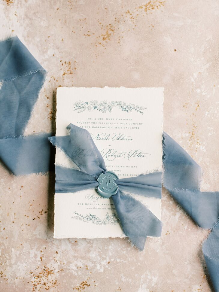 Blue-and-White Invitation for Cincinnati, Ohio, Wedding