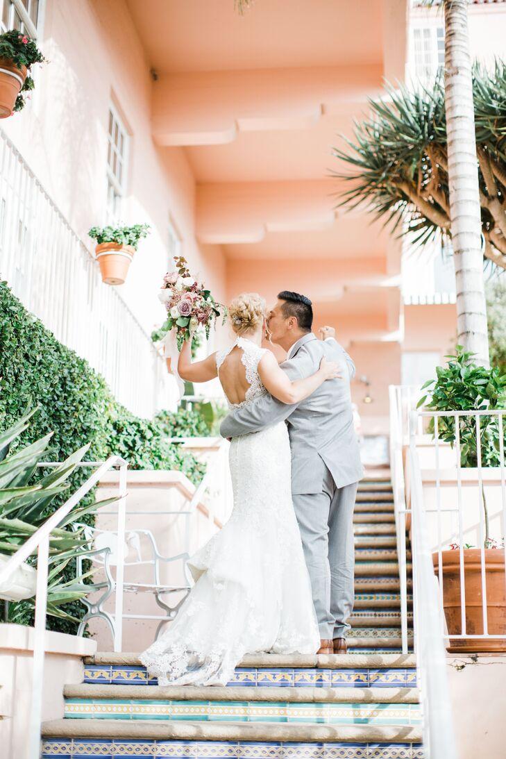Couple at the La Valencia Hotel Wedding in La Jolla, California
