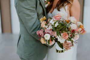Romantic Bouquet of Pink and Peach Flowers and Leaves
