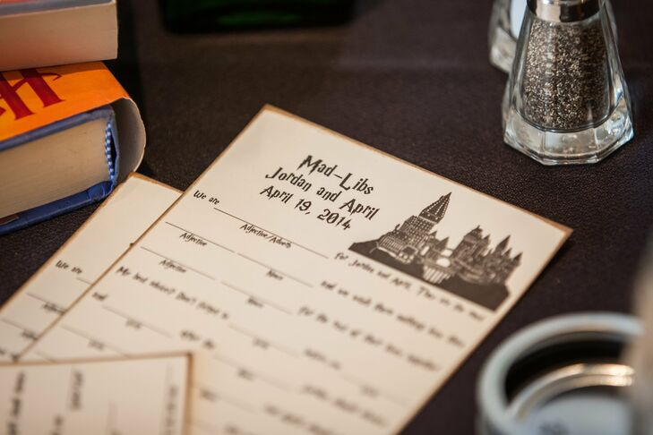 April and Jordan put a fun twist on their advice cards with Mad Libs printed on antiqued paper and with the same Hocus Pocus font used on the series' books.