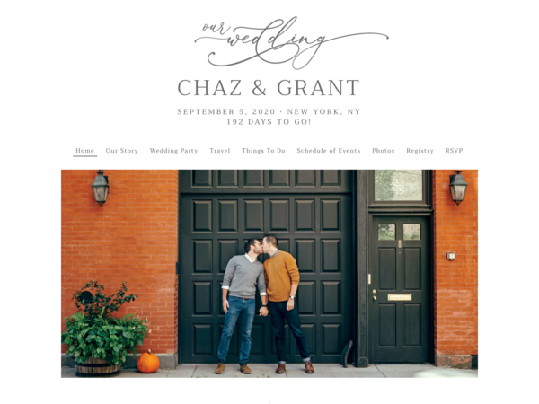 Romantic Calligraphy Wedding Website Template, The Knot