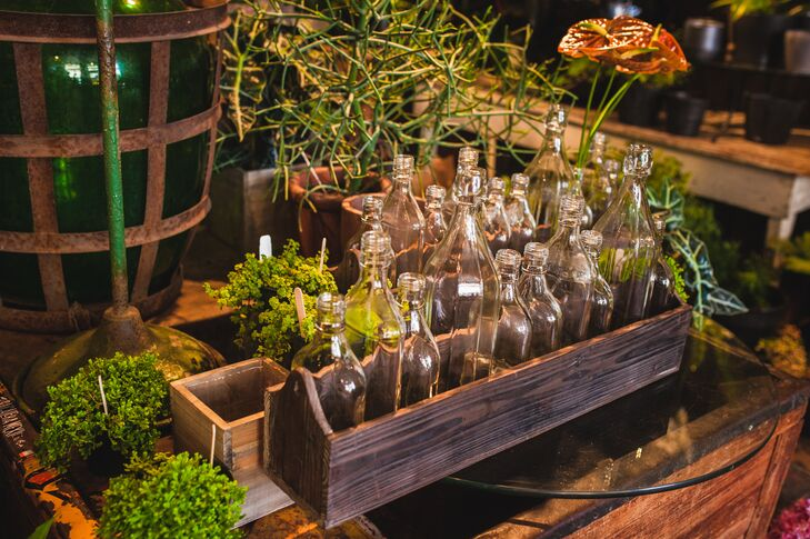 Glass Vases in Wood Containers