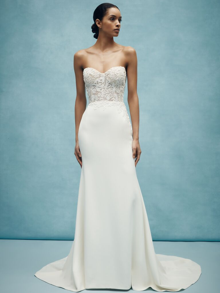 Anne Barge Spring 2020 Bridal Collection strapless wedding dress with embroidered bodice