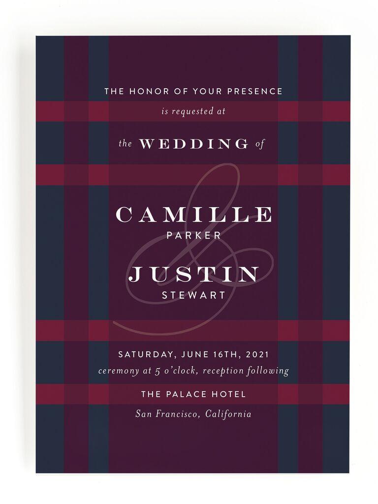Plaid fall wedding invitation