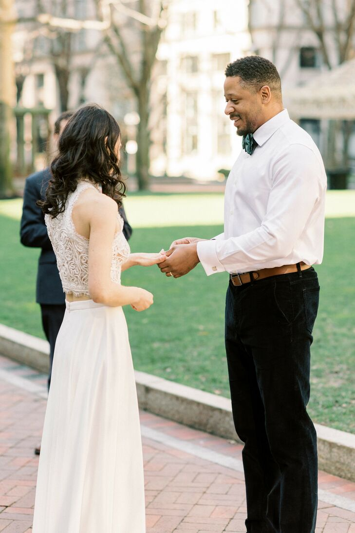 Ring Exchange During Elopement in Downtown Boston, Massachusetts