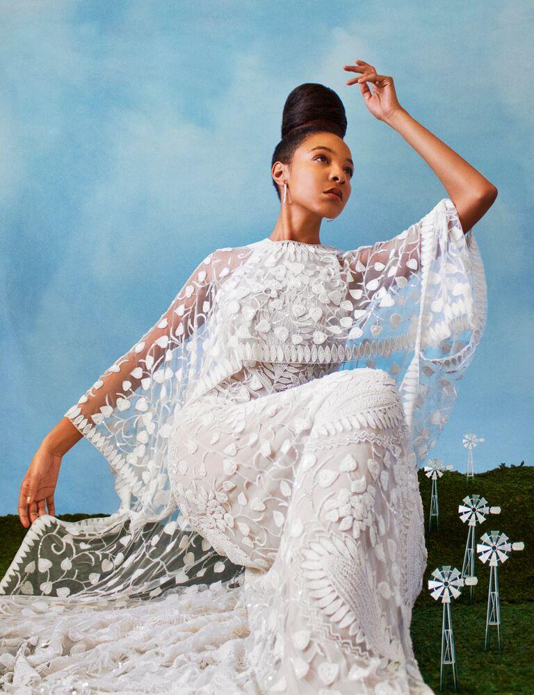 Naeem Khan embellished wedding dress with lace sleeves