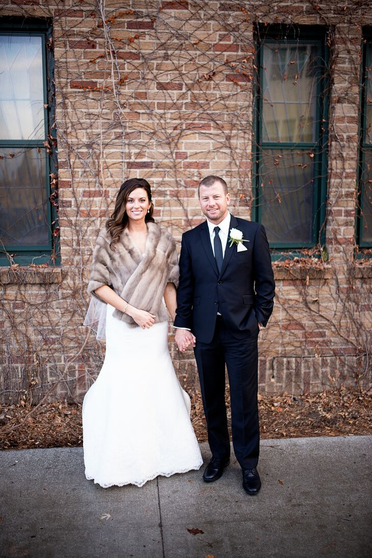 Inspired by their love of New York City and everything Gatsby, the newlyweds incorporated plenty of glam elements (including one seriously-chic pair of Badgley Mischka heels) throughout their winter wedding.