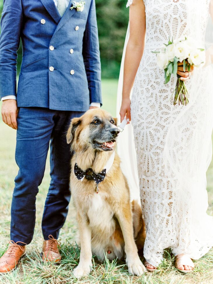 With the celebration unfolding at Addison's family home in Manchester, Vermont, including their dog in the wedding day was a must. Their dog was decked out with a polka-dot bow tie to add a hint of formality to his everyday look.