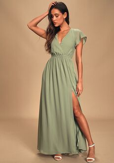 Lulus Lost in the Moment Sage Brush Maxi Dress V-Neck Bridesmaid Dress
