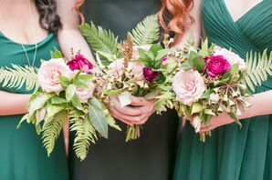 Bouquets with Ferns, Roses and Ranunculus