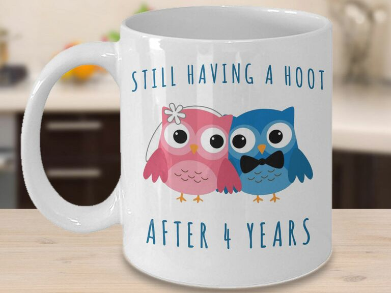 Owl couple mug for fourth anniversary