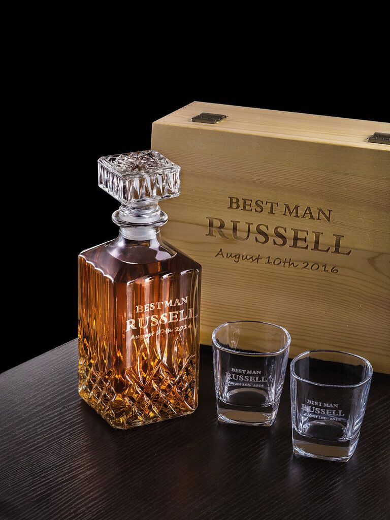 Best man decanter and glasses gift from groom