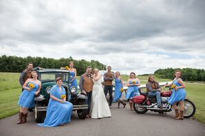Wedding Party in Blue and Brown with Various Modes of Transportation
