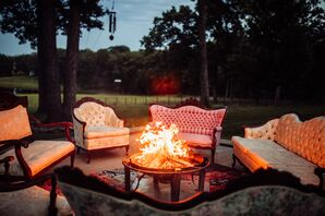 Backyard Fire Pit with Vintage Lounge Furniture