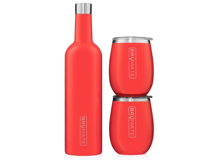 Coral-hued wine insulator and travel tumbler set