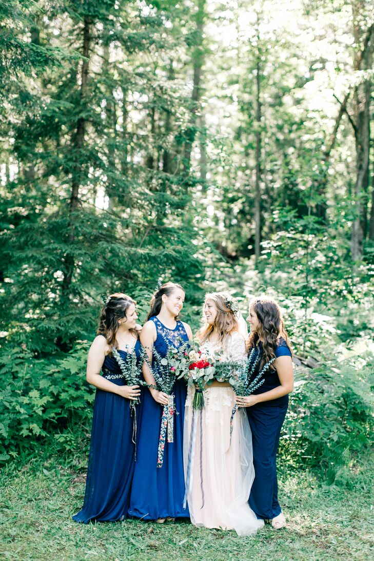 Long Blue Mismatched Bridesmaid Dresses