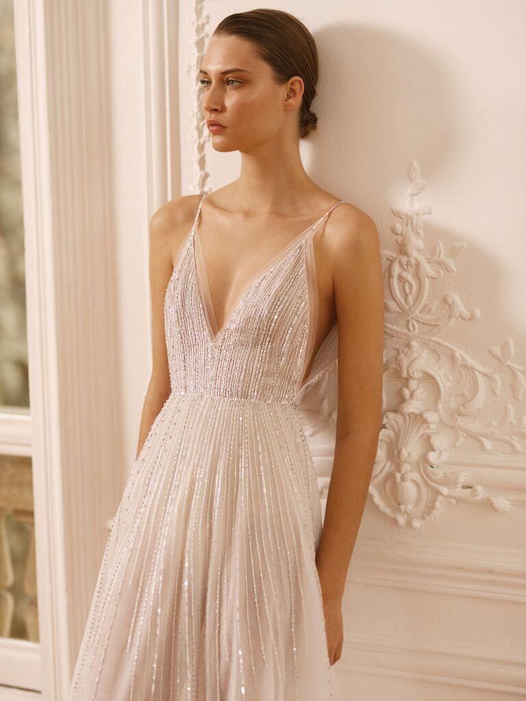 Dana Harel Spring 2020 Bridal Collection beaded spaghetti-strap wedding dress