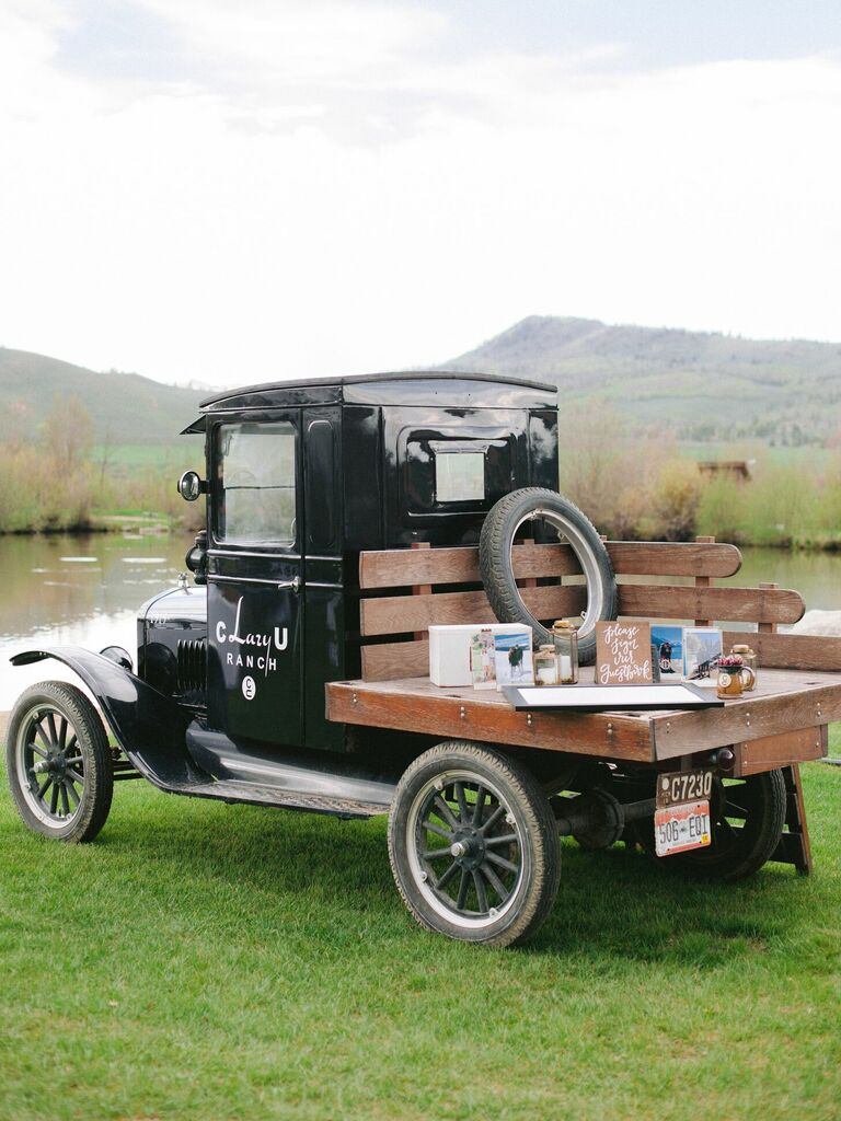 Vintage pickup truck used as guest book table