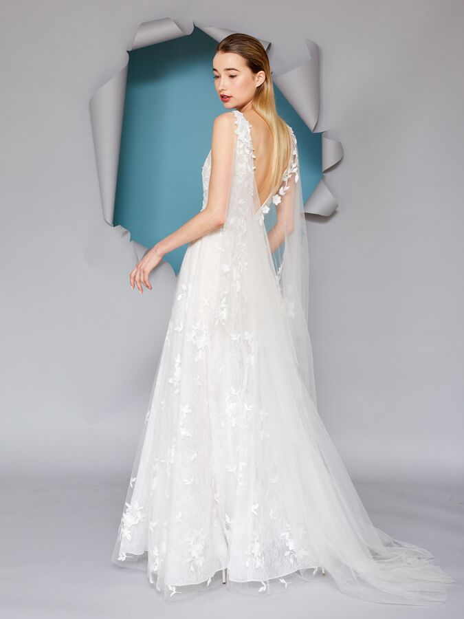 Gracy Accad embroidered A-line wedding dress with cape