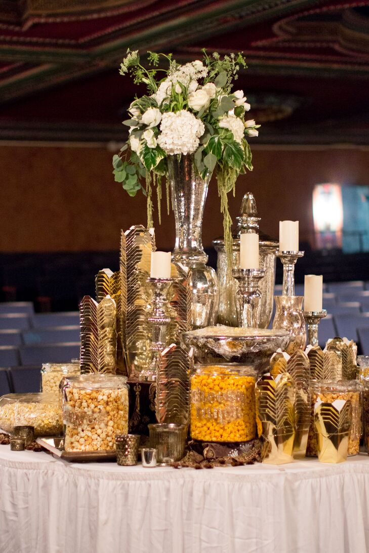 Allie and Liam had a huge popcorn bar with 10 flavors of popcorn. It was a great end-of-the-night snack for everyone. And the gold takeout boxes even matched the palette.