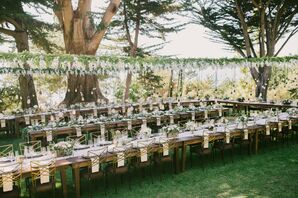 Rustic, Outdoor Reception With Communal Tables