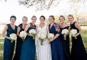 Navy Floor-Length Bridesmaid Gowns