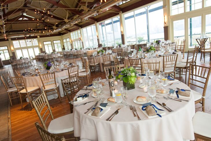 "Lauren and Richard were looking for a spacious wedding venue in the New York City area, and fell in love with the Liberty House in Jersey City, New Jersey. ""I loved all the windows: It felt airy and bright and not too stuffy,"" Lauren says."