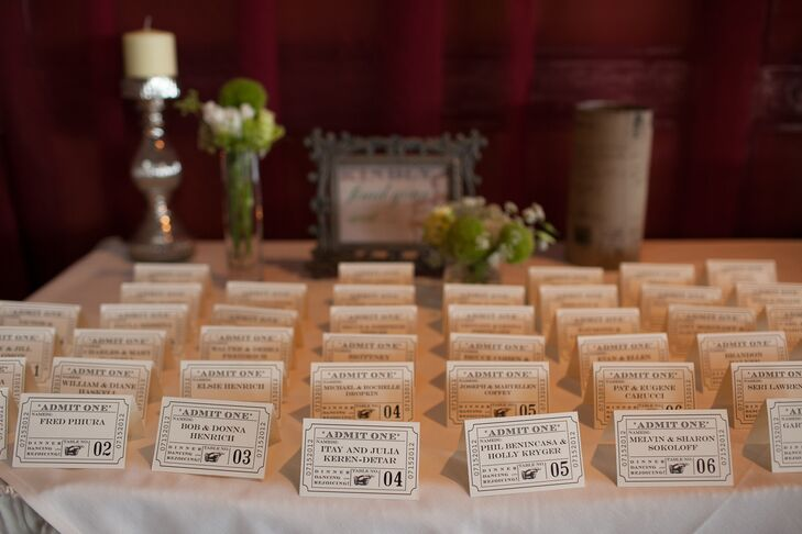 "Using his own creativity, Richard designed the guests' escort cards, which replicated vintage carnival tickets. ""My husband did an amazing job designing the escort cards to look like carnival tickets,"" Lauren says."