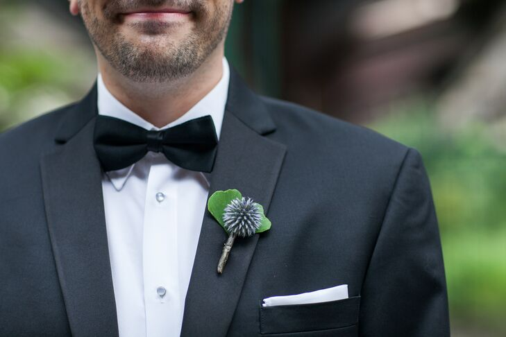 Blue Allium Boutonniere