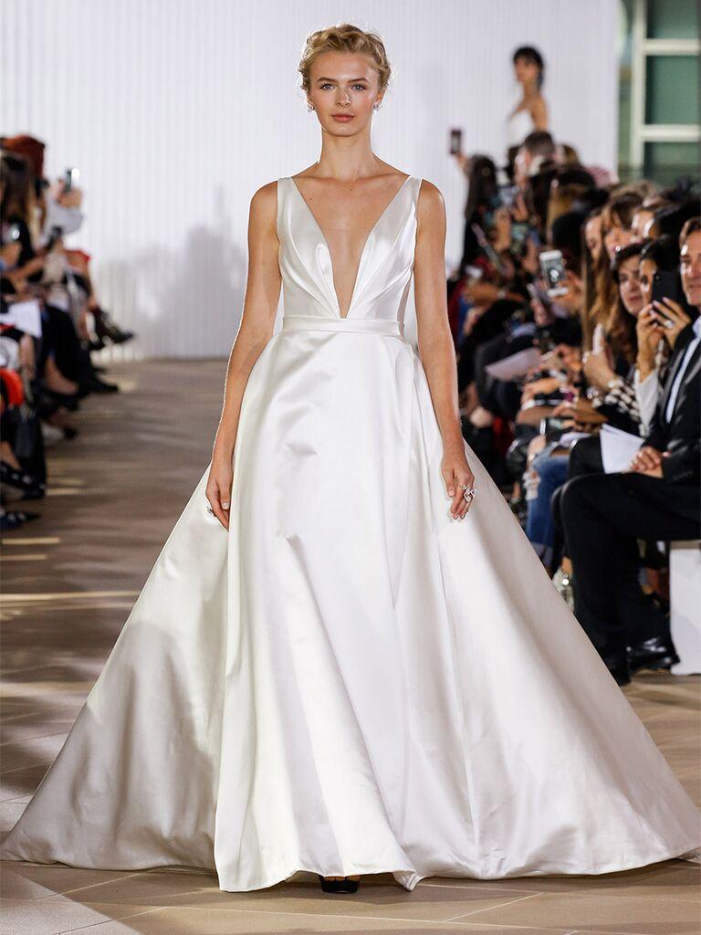 Ines Di Santo wedding dress plunge ball gown