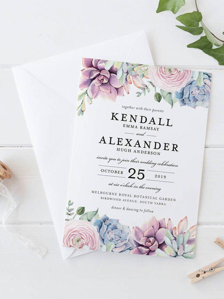 Etsy pastel succulent spring wedding invitation