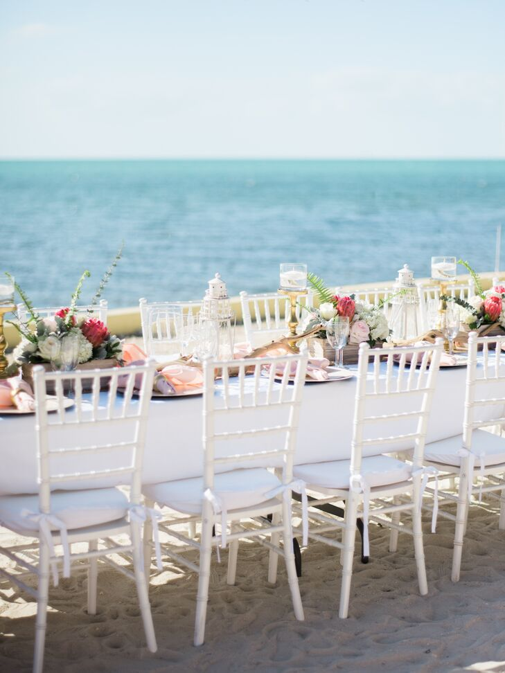 White chiavari chairs, blush linens and flowers from Nicole's bouquet gave the outdoor reception a soft and comfortable yet elegant feel.