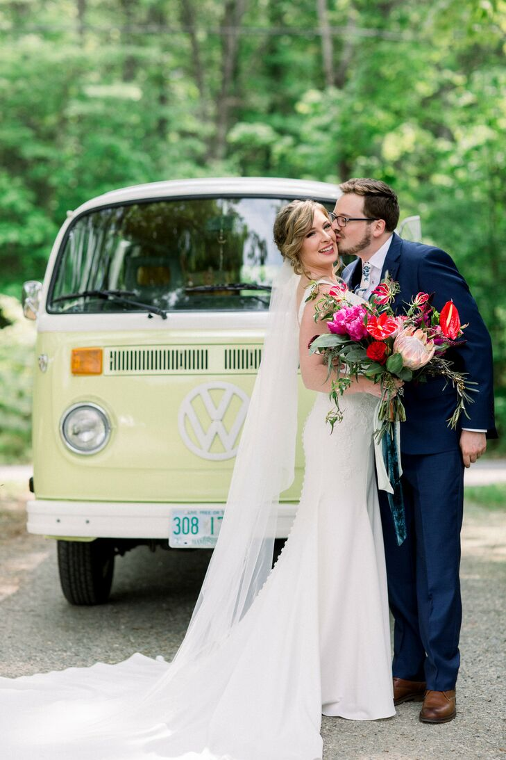 Classic Bride and Groom with Retro Volkswagen