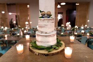 Naked Wedding Cake with Greenery and Personalized Topper