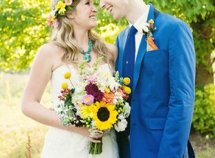 Nicole and Jamie opted for an outdoor and rustic affair at the bride's sister's farm. Vibrant flower arrangements and DIY elements gave the wedding a