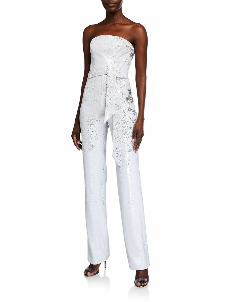 sequinned strapless jumpsuit