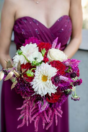 Jewel-Toned Wine and White Bridesmaid Bouquet