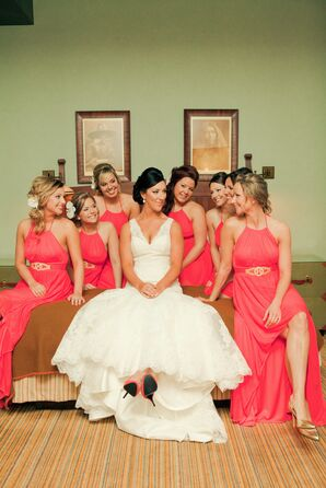 Bridesmaids in Coral Bridesmaid Dresses