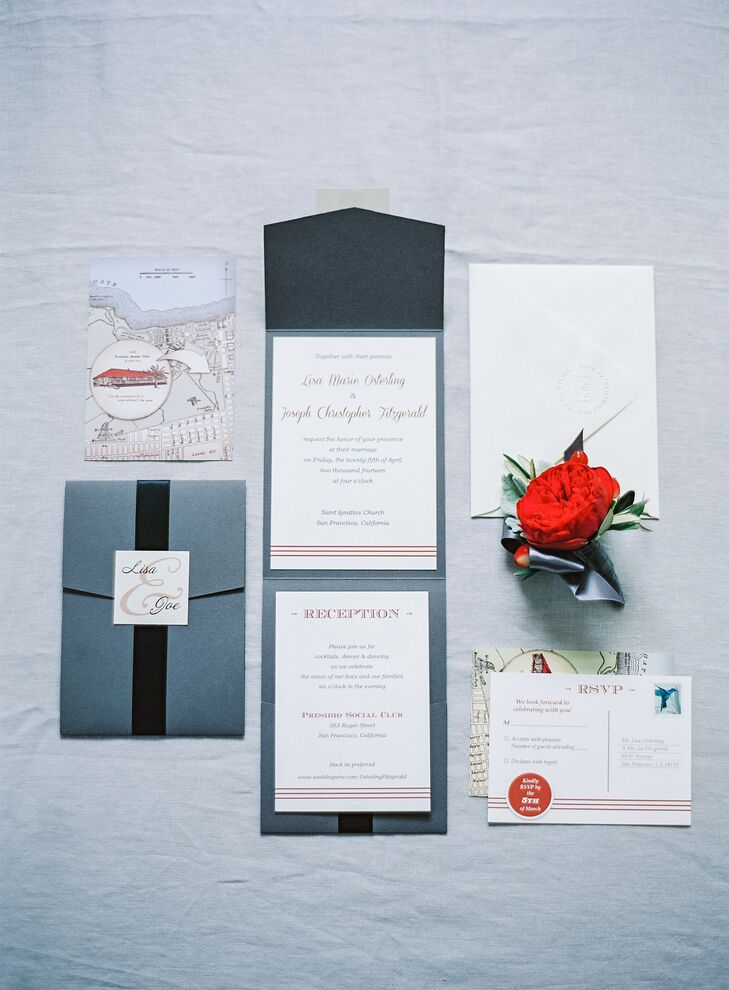 "Wedding invitations were black, gray and white with a touch of red, reflecting the color palette for teh day. ""Save-the-date and wedding invitations were designed by the bride, printed by All City Printing in San Francisco and finally assembled by the bride,"" says the couple."