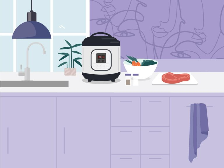 illustrated purple kitchen with multicooker and ingredients to make dinner on counter