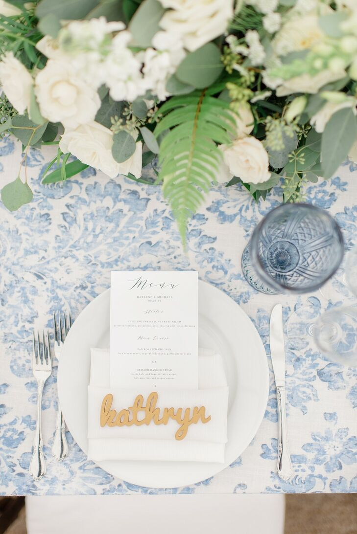 Elegant Place Setting with Patterned Tablecloth, Menu and Laser-Cut Place Card