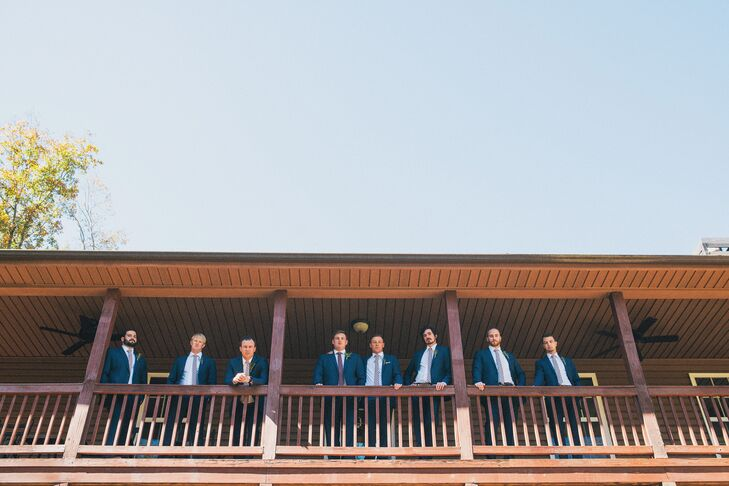 Groomsmen stayed at the property, where they dressed in blue Calvin Klein suits from Men's Wearhouse. They wore ties from the Tie Bar, given as their groomsmen gifts.