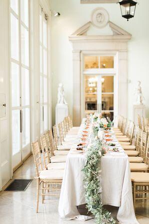 Mansion Wedding Reception Long Table Settings