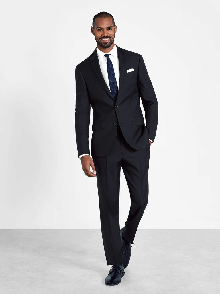 Black wedding guest rental suit