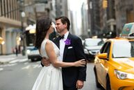 Alexis Farah and Nick Hart pulled off a classic big city wedding with bright, textured blooms and New York City–inspired touches at The Rainbow Room i