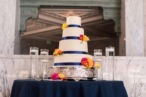 Elegant Wedding Cake With Navy Accents
