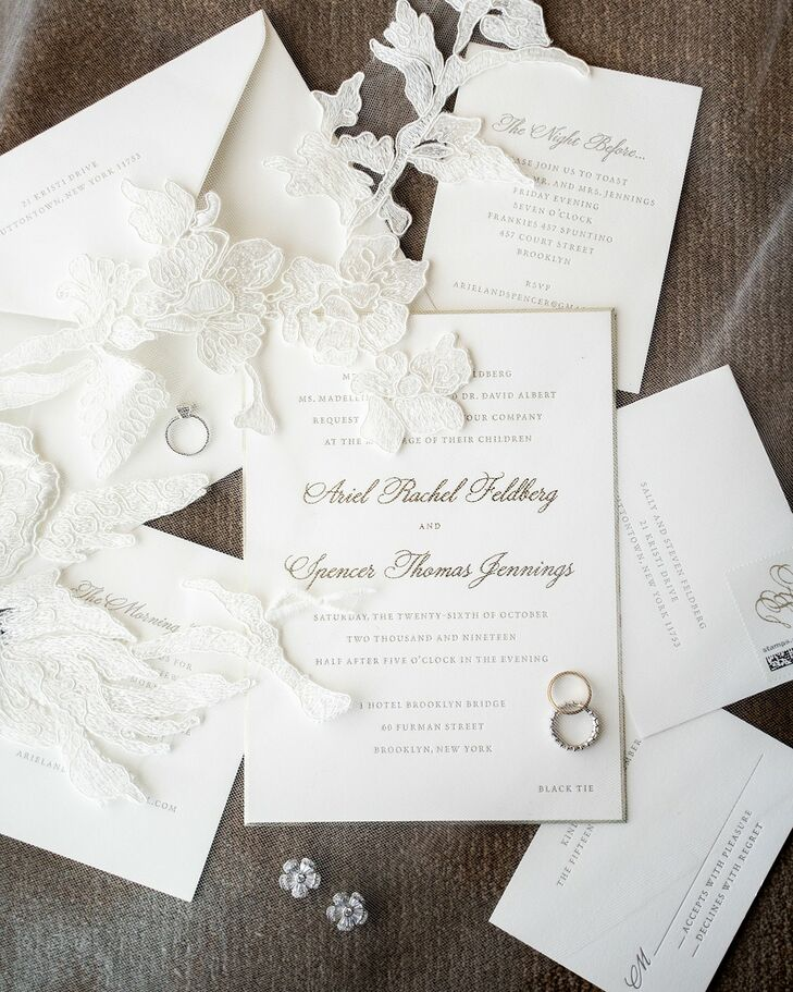 Formal Wedding Invitations with Gold Calligraphy