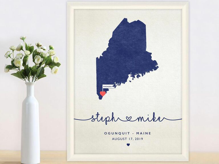personalized map engagement gift