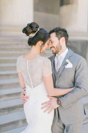 Glamorous Beaded Illusion Wedding Dress