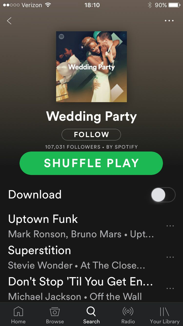 Spotify wedding app screenshot